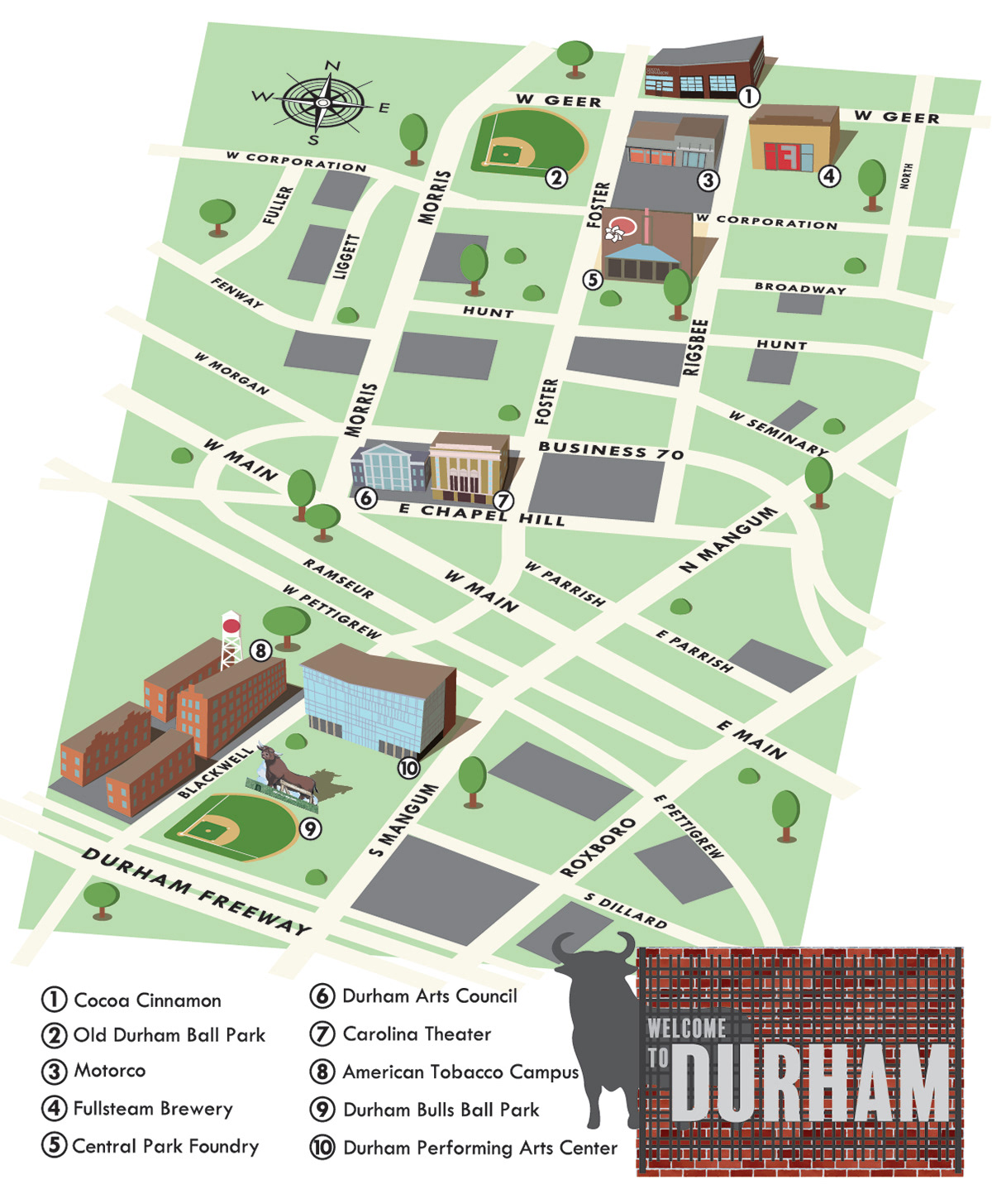 Downtown Durham Isometric Map On Behance