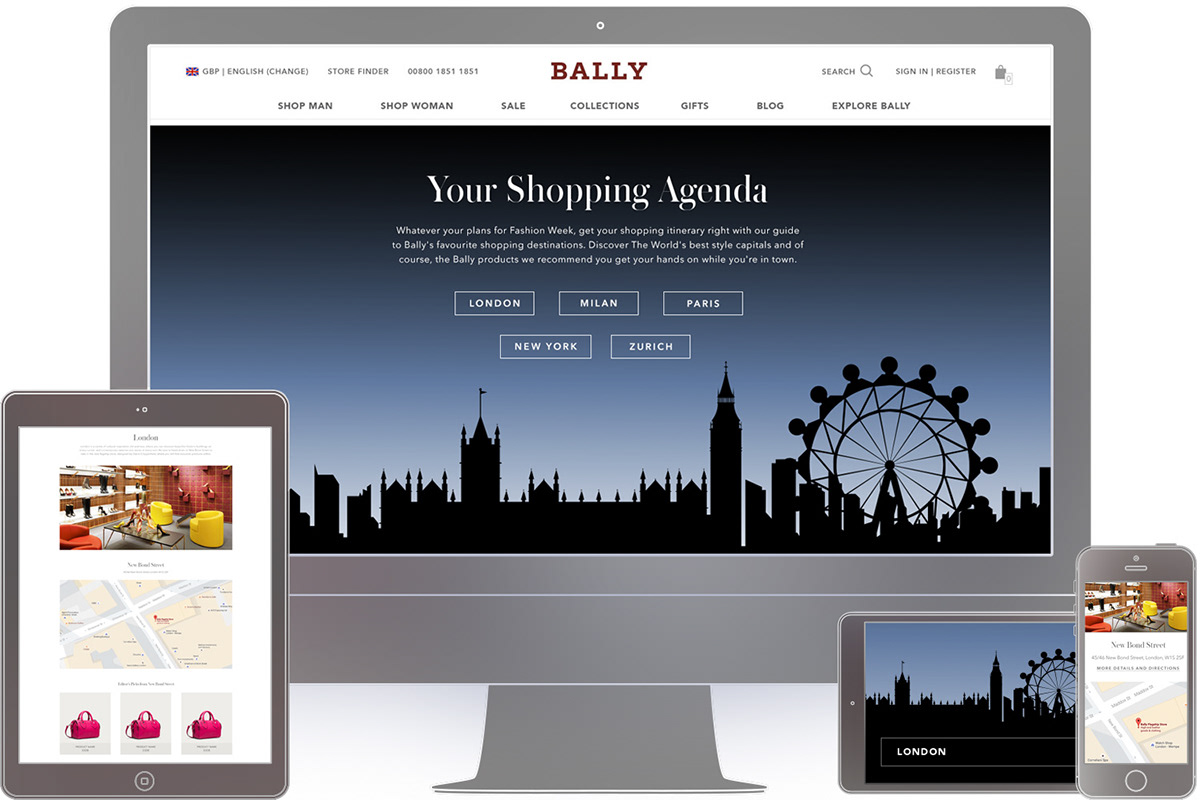 bally Fashion  editorial design  Web Design  Ecommerce UI ux landing page