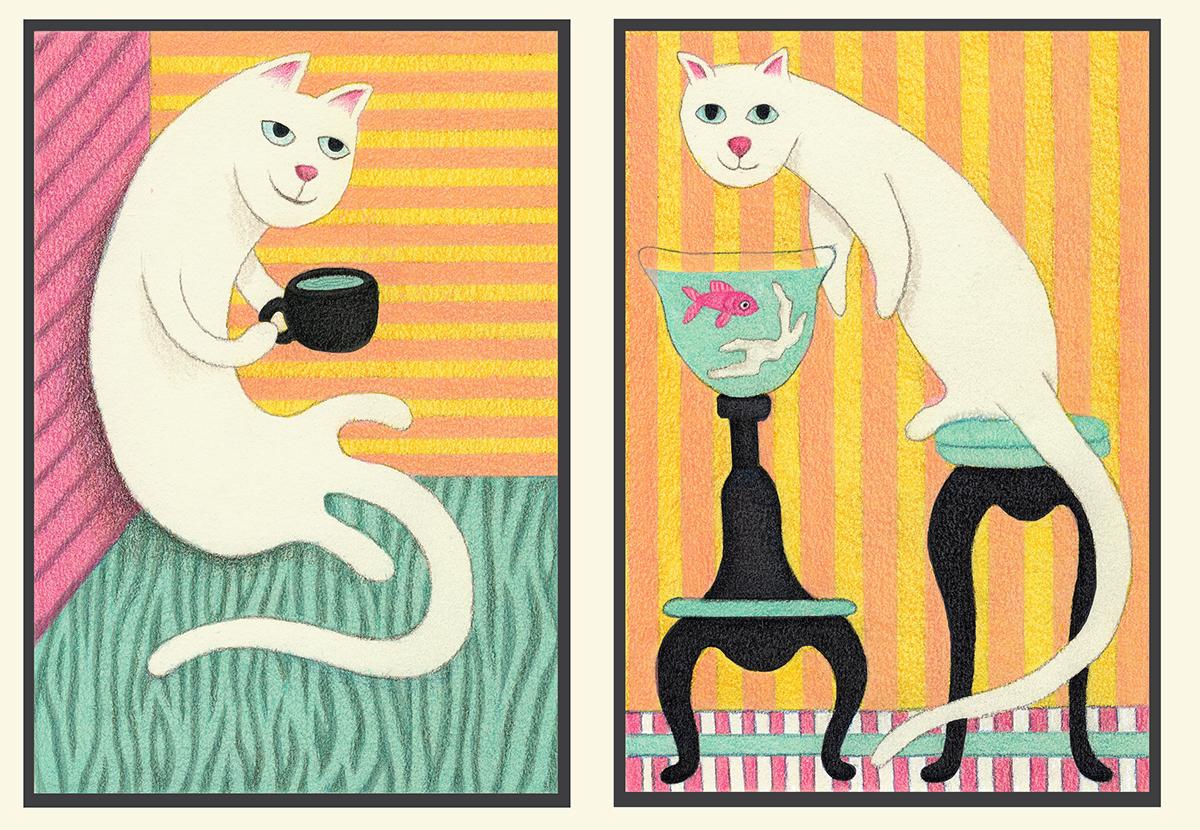 Cat kitten Drawing  prisma prismacolor ILLUSTRATION  freelanceillustrator painting   photoshop diptych