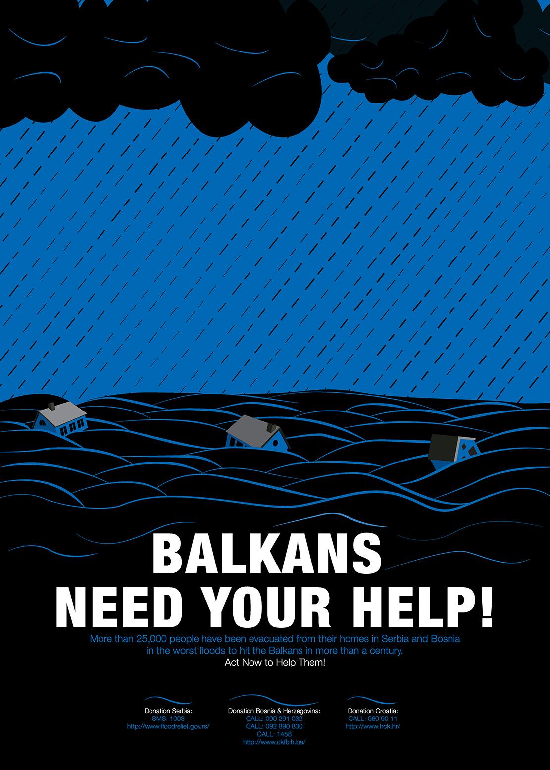 disaster flood Balkan poster graphic design  ILLUSTRATION  donation