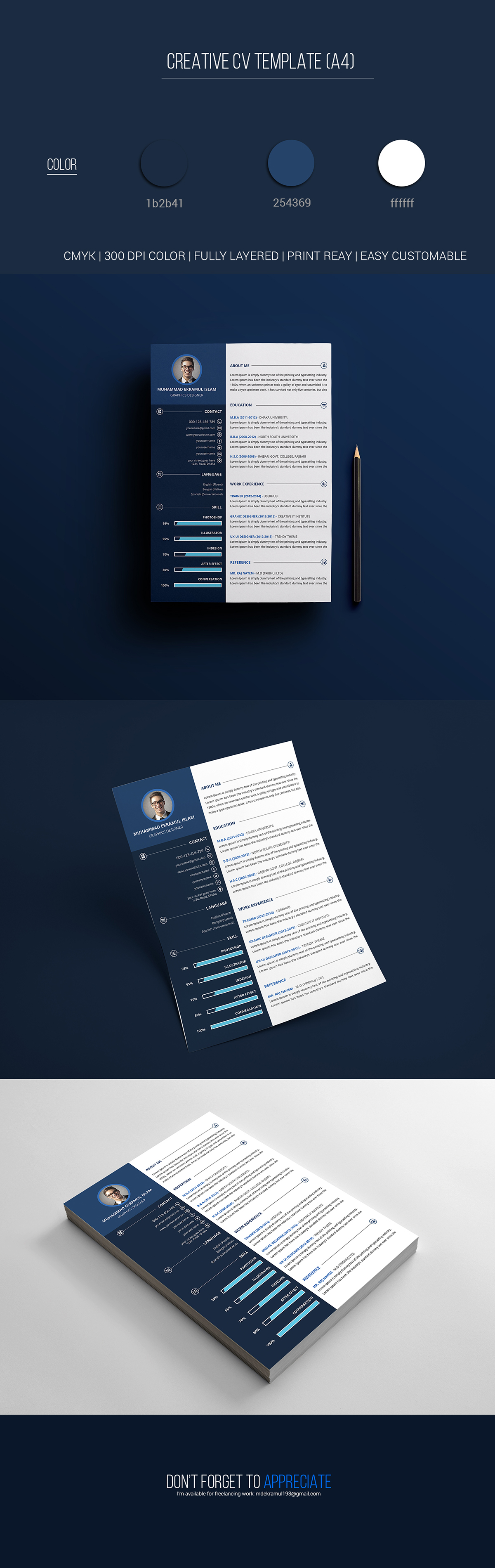 Creative Resume Cv Template Free Psd Template On Behance