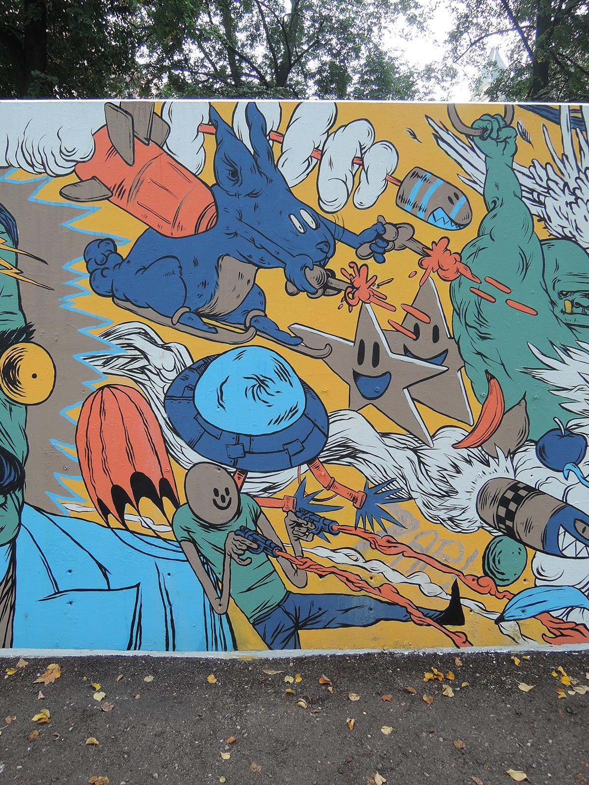 Fokus Festival Görlitz Papa Gallosch Summer2014 man War wall comic dragon explosion colour rabbit fish bombs rockets