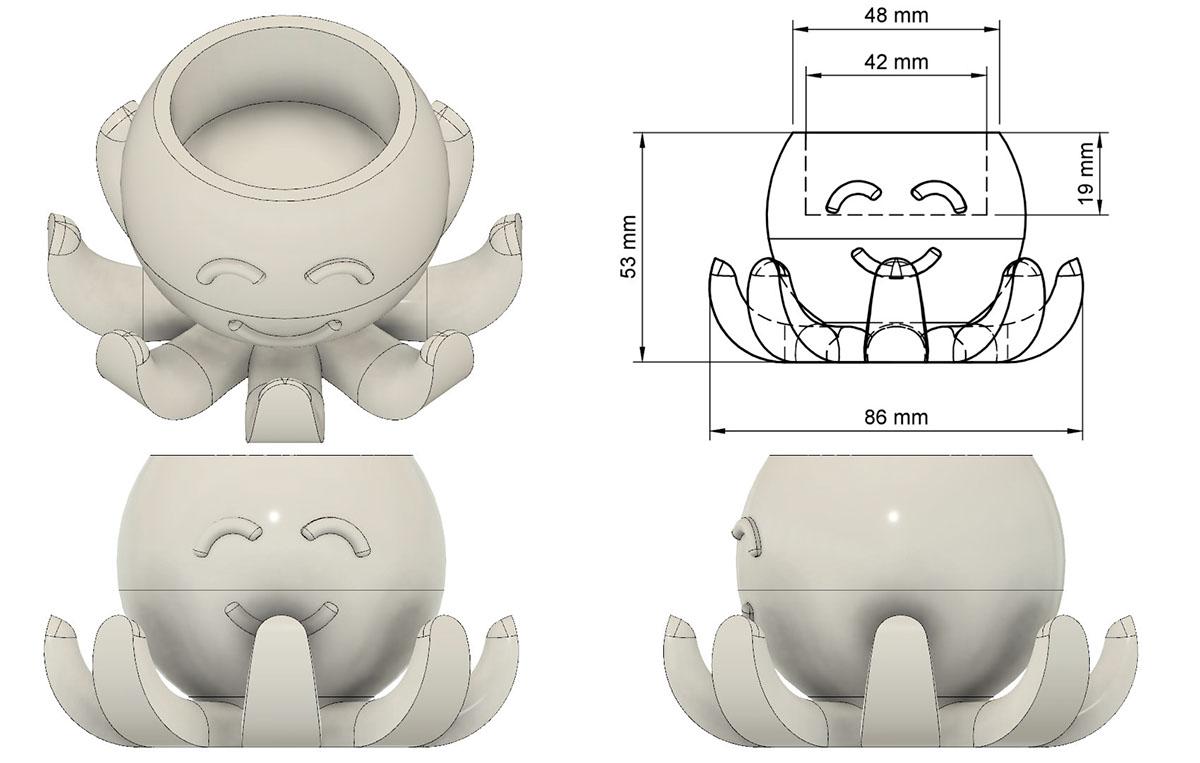 3d printing 3D candle octopus cute plastic 3d print tea light