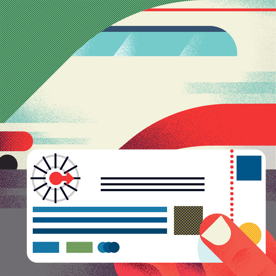 adam avery illustration the guardian university guide hand holding train ticket