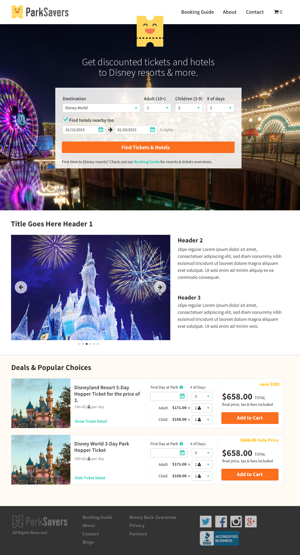 Parksavers Website Redesign On Behance