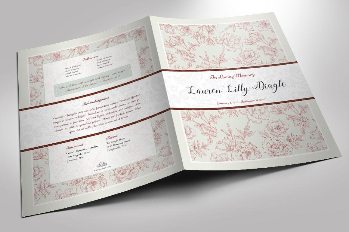 Vintage Rose Funeral Program Publisher Large Template on Behance