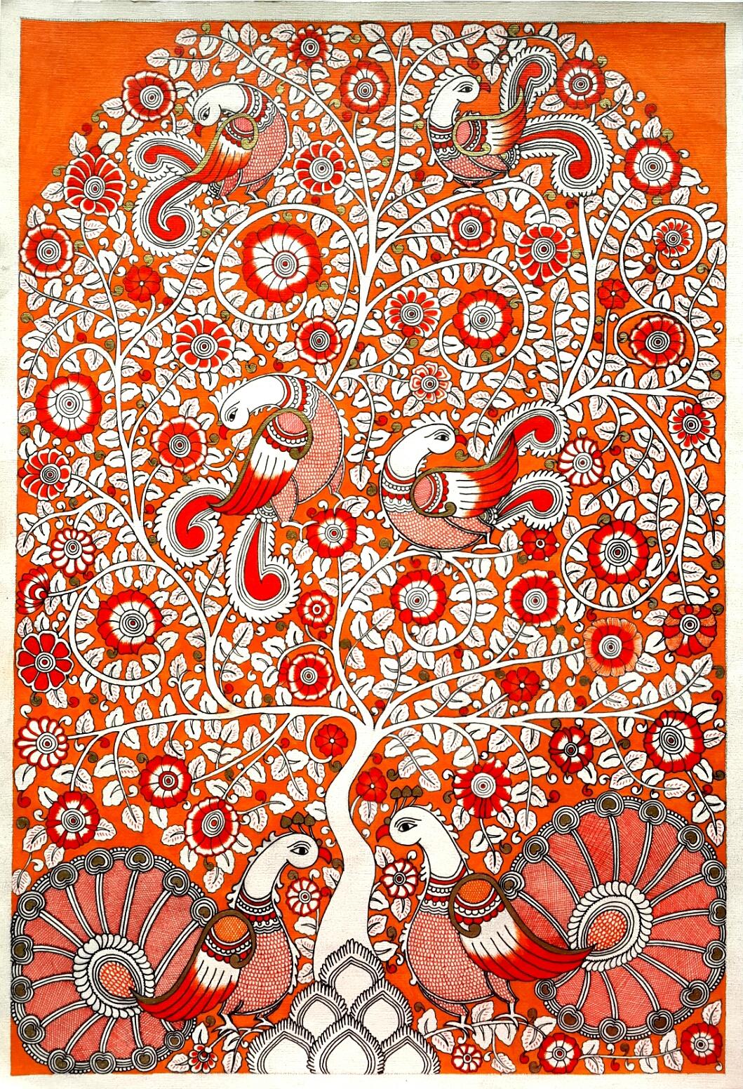 Kalamkari Indian folk art contemporary folk art tree of life peacocks