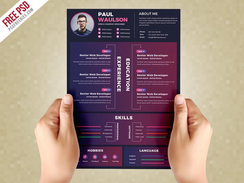 Creative Resume Design Template Psd On Behance