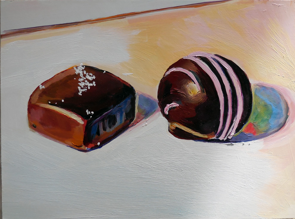 Salted Caramel meets Raspberry swirl, acrylic painting by Zoe Zuniga