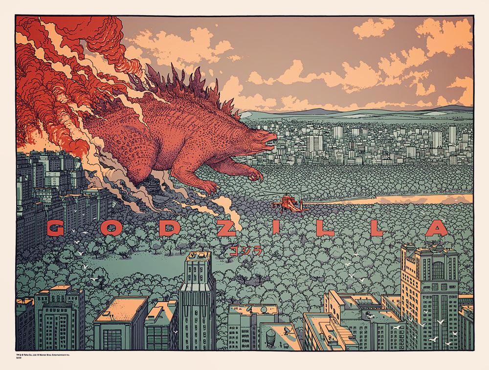 godzilla screen print for mondo tees on behance - Godzilla Pictures To Print