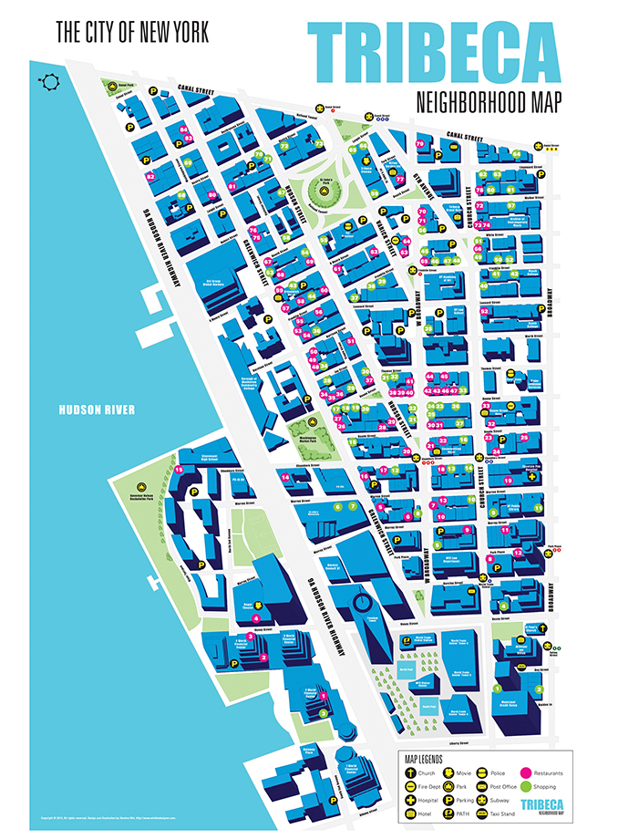 Neighborhood Map of Tribeca – New York City on Behance