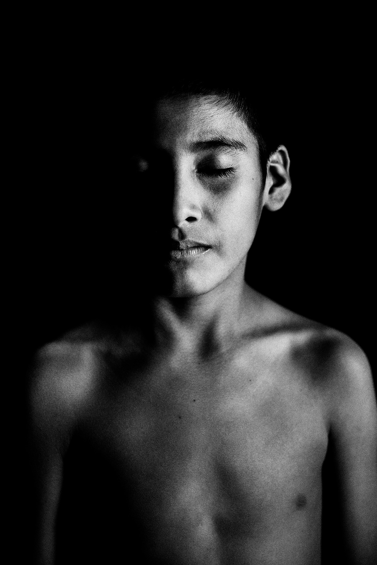 Eyes Closed Portrait of Guajajara: Black and White Portrait Photography by Jean Tran and Élysée Lang
