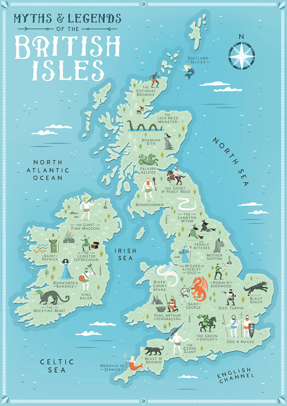 Myths & Legends of the British Isles Map on Behance