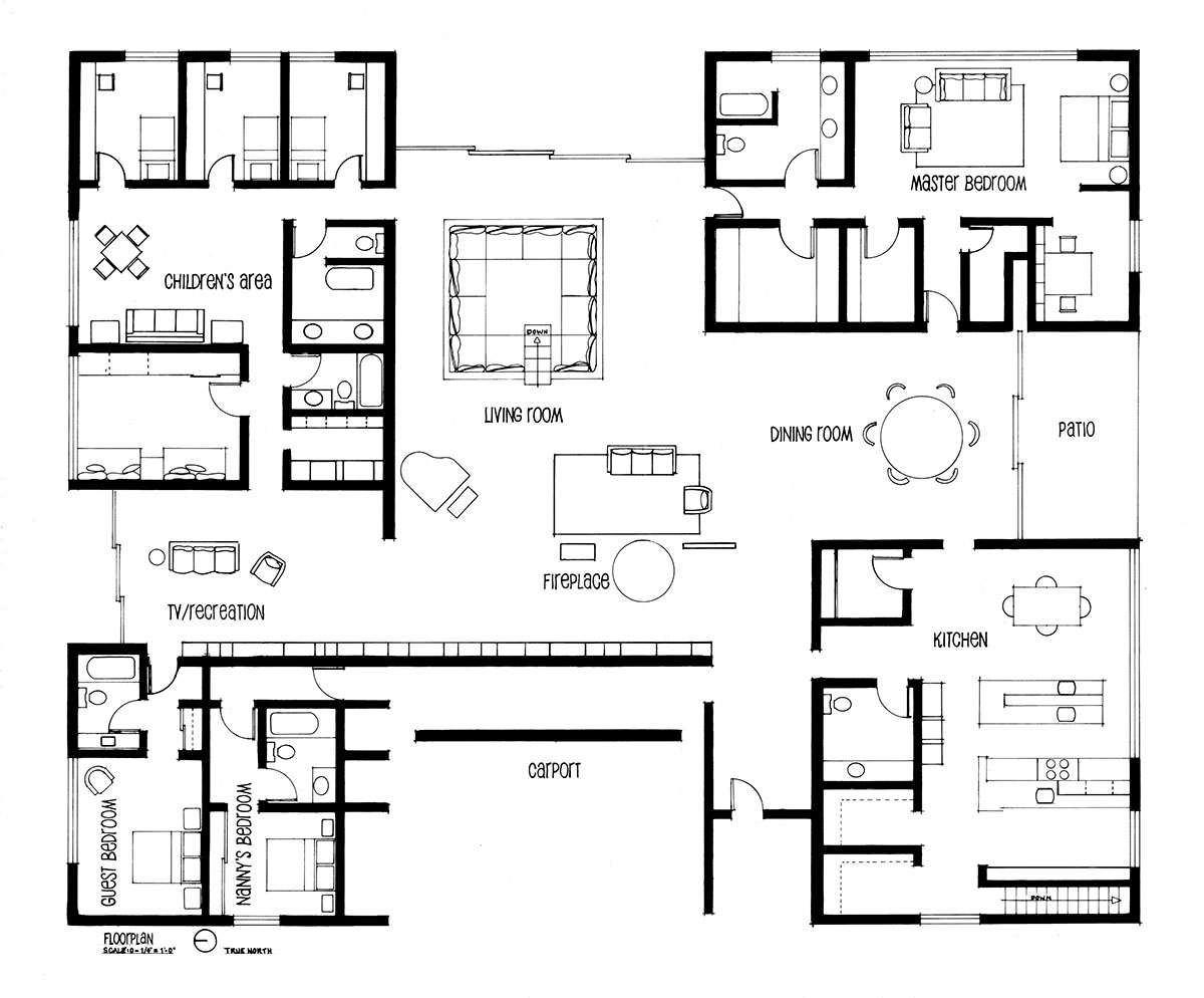 Hand drafting eero saarinen 39 s miller house on behance Home layout planner