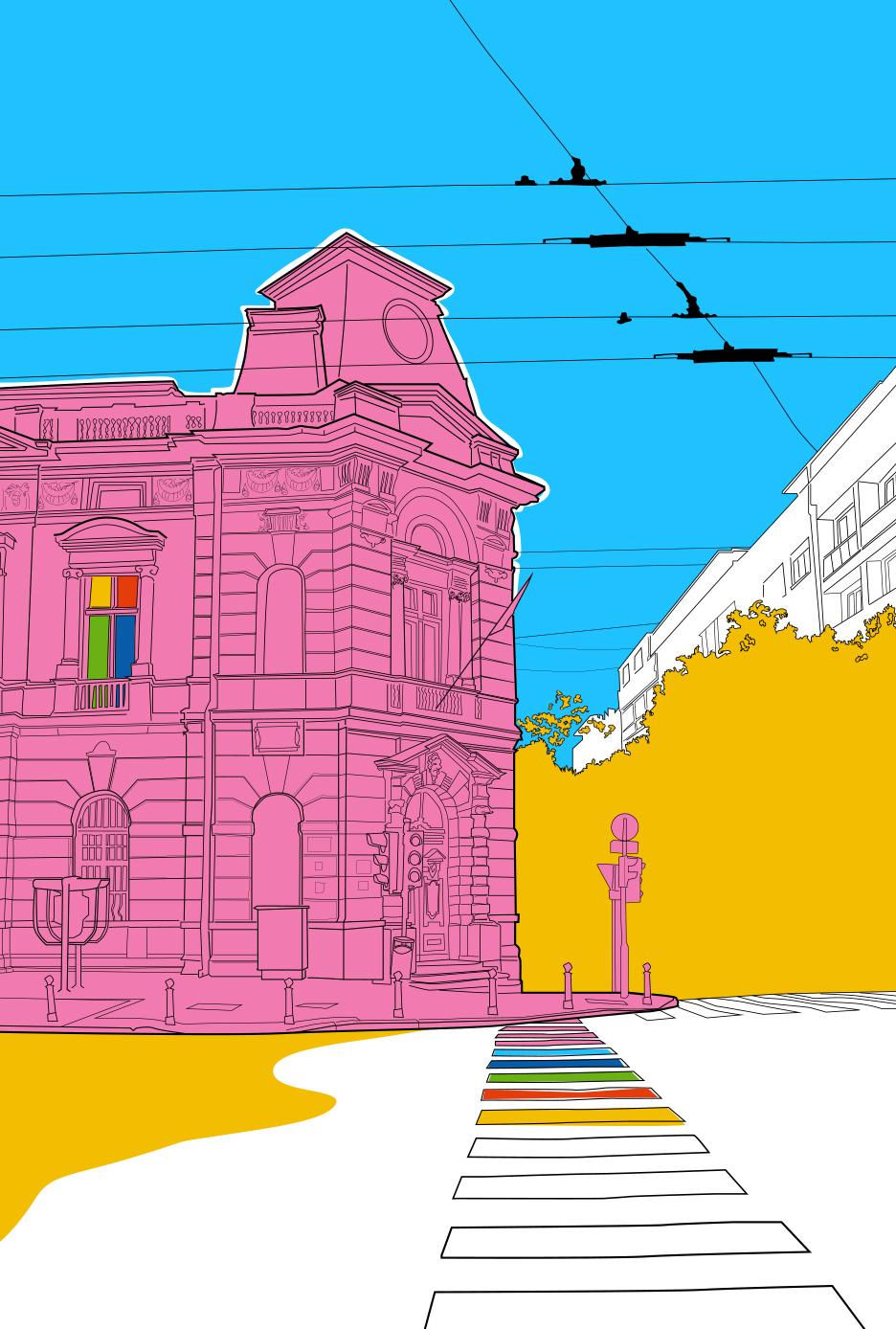 vector ILLUSTRATION  digital city streets scene town Vector Illustration digital illustration colorful