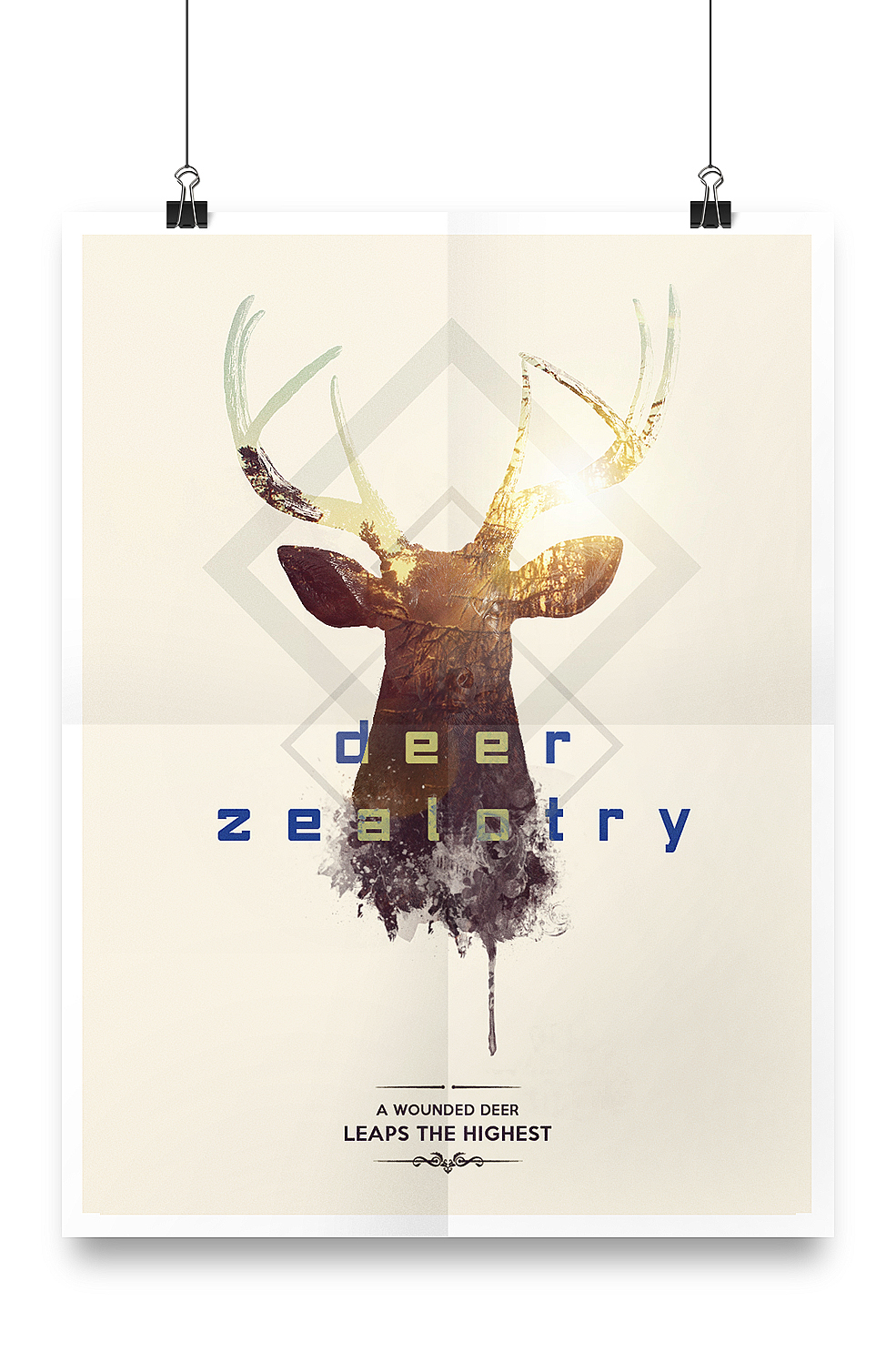 deer poster square Hipster Mockup quote Sun geometry