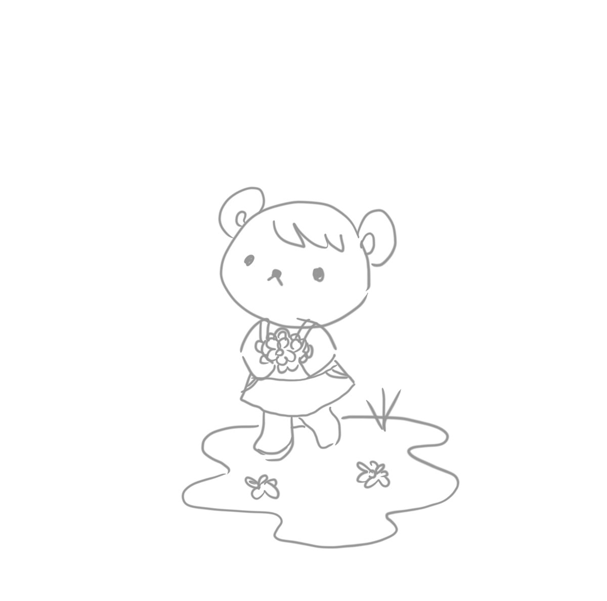 sketch of a cute bear holding flowers