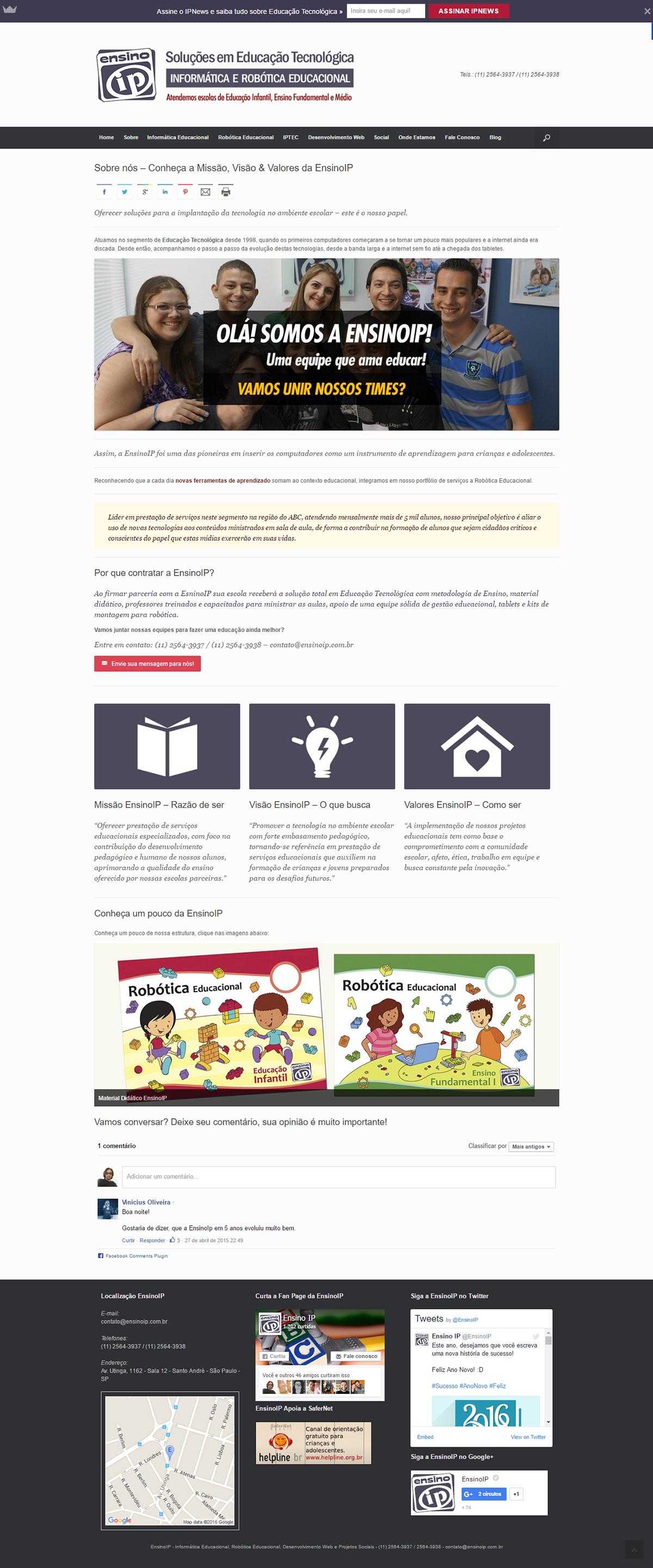 Desenvolvimento do Site EnsinoIP
