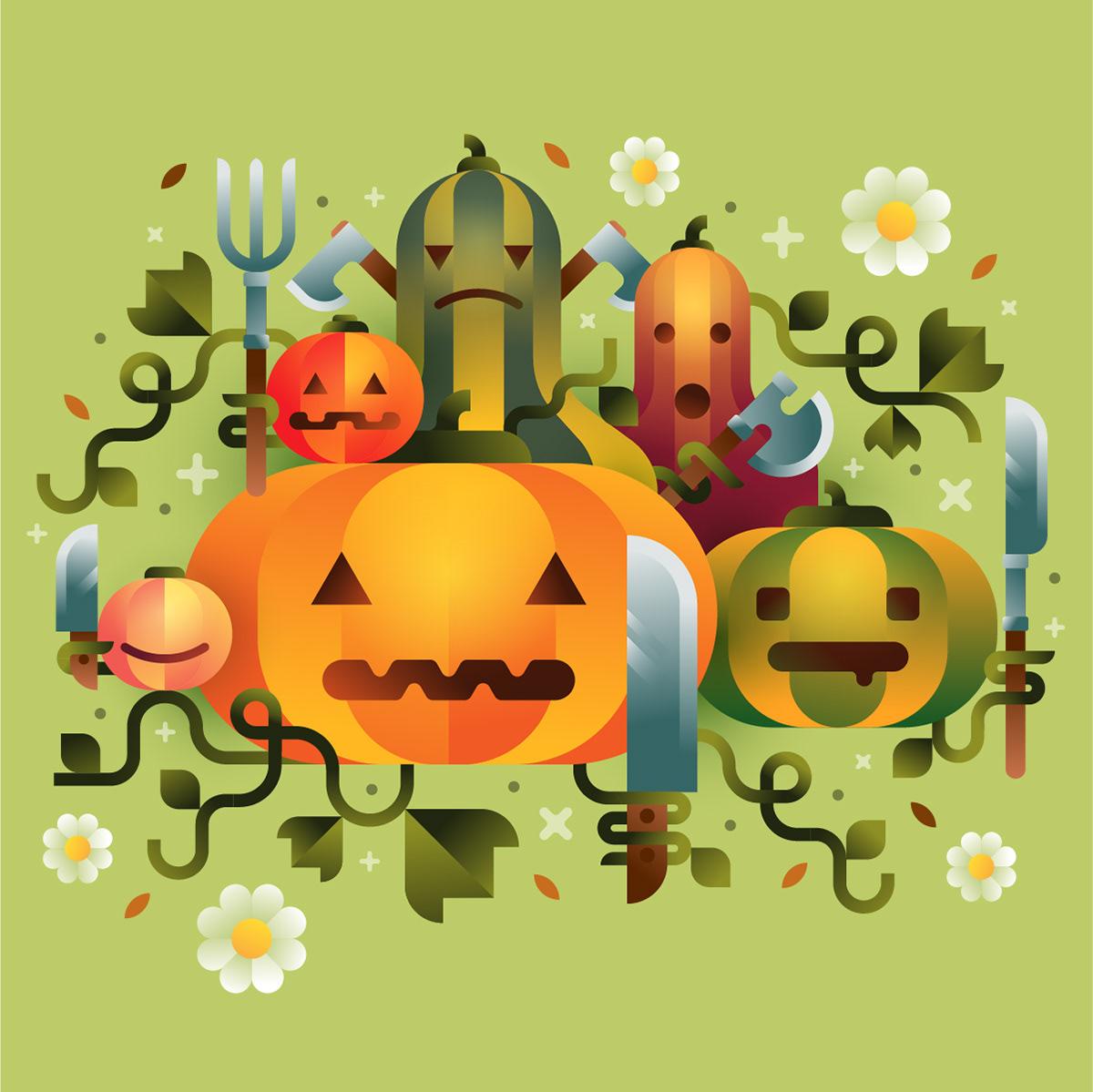 All Hallow's Eve autumn characters garden gradients Halloween killer pumpkins vector