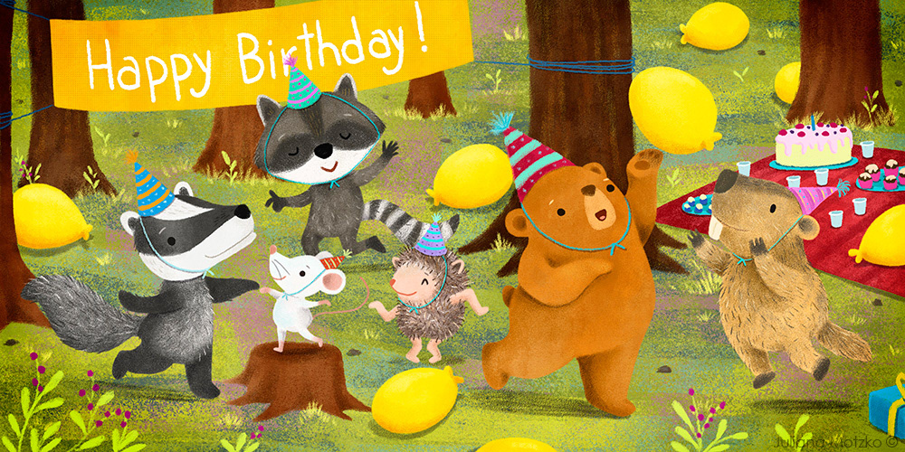 animals birthday party Character design  children illustration cute ILLUSTRATION  kids book Nature Picture book woodland