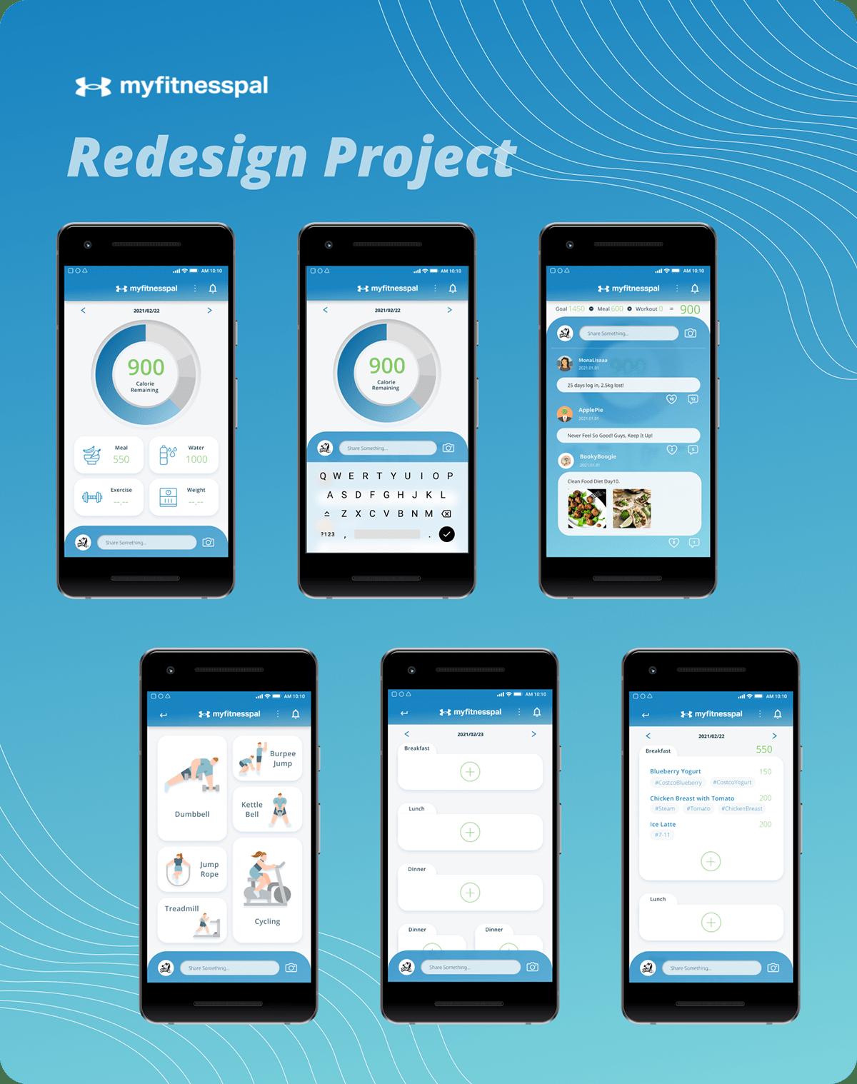 app design app redesign fitnessapp myfitnesspal redesign ui design UI designer uiux