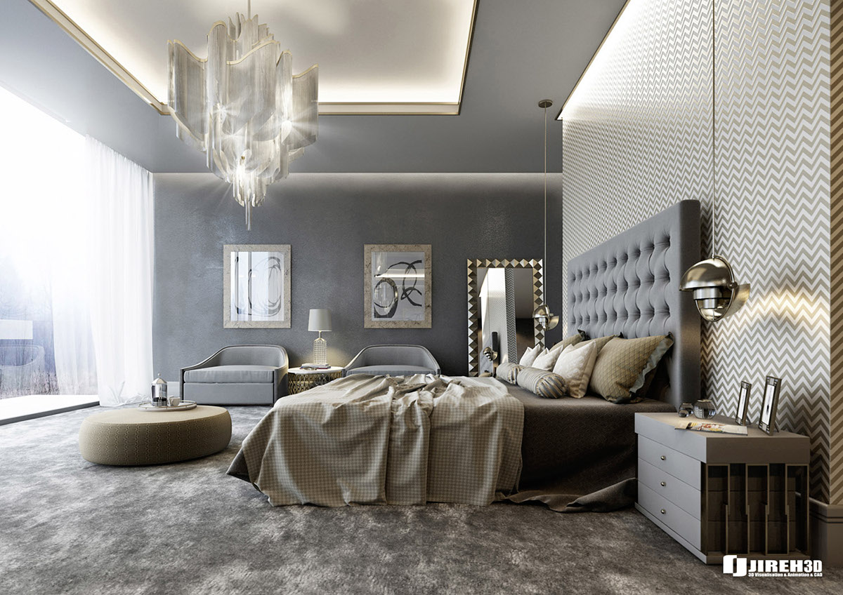 Vrayforc4d scene files modern classic bedroom scene on for Decoracion de recamaras principales