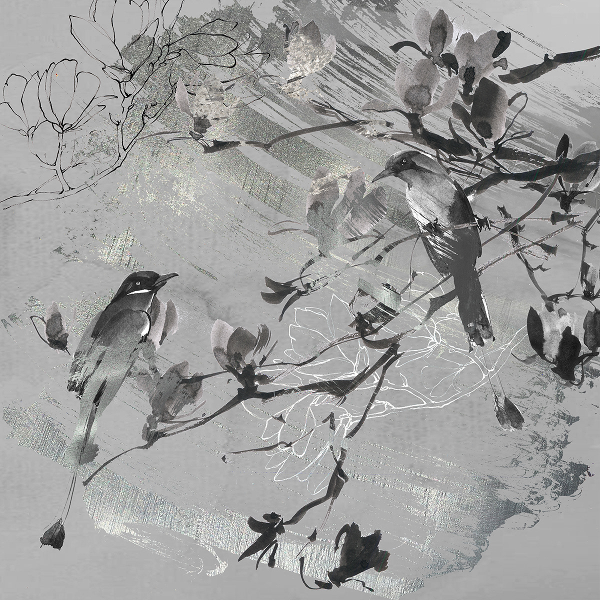 artist birds graphicart pattern plants print wallpaper watercolor