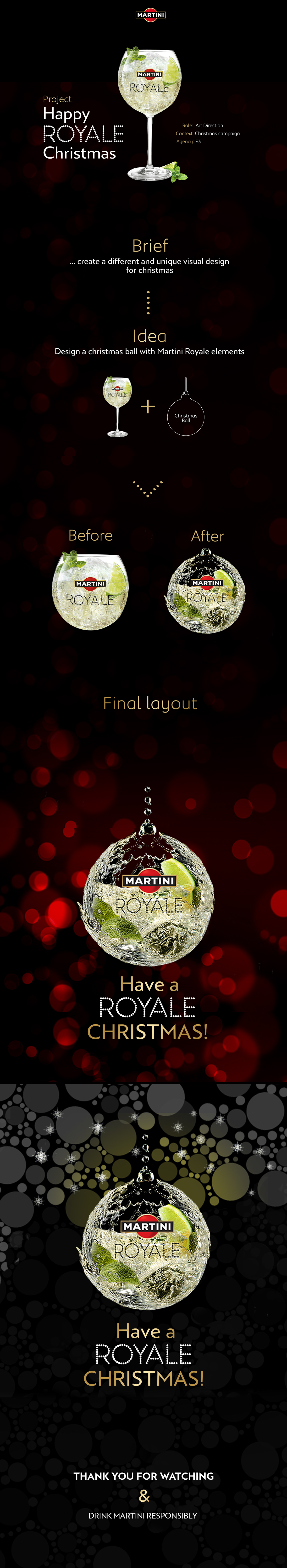 Martini royale art  direction Photo Retouching water effects photoshop compositing lights Christmas design