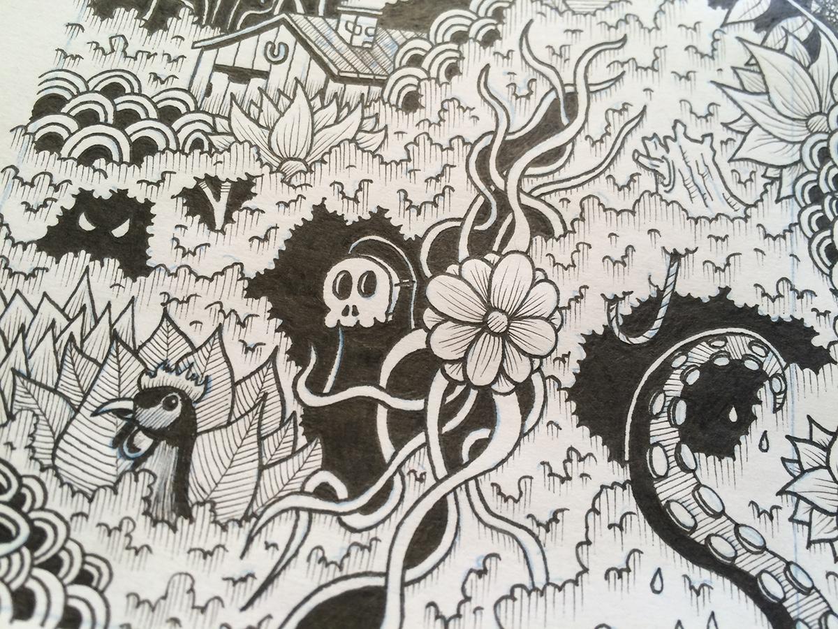 doodle Drawing  lichtenstein Drowning nightmare