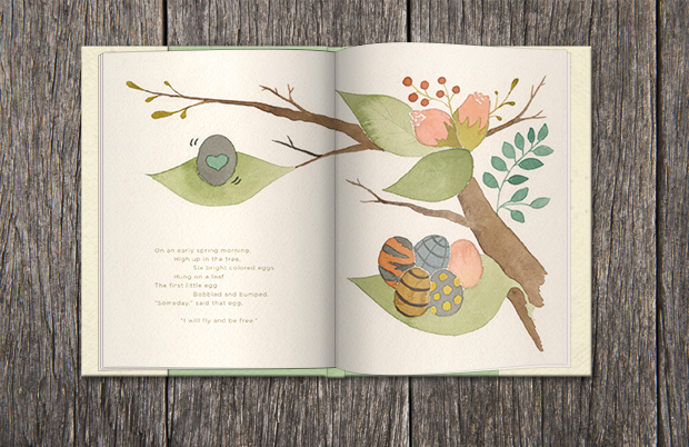 Caterpillar butterfly children's book watercolor floral minimalistic natural sophisticated