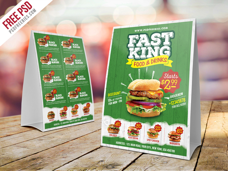 Download Fast Food Menu or Tent Card Template PSD. This Fast Food Menu Table Tent Template PSD is suitable for fast foods grill jerk hot alcohol pub ... & Free PSD : Fast Food Menu Table Tent Template PSD on Behance
