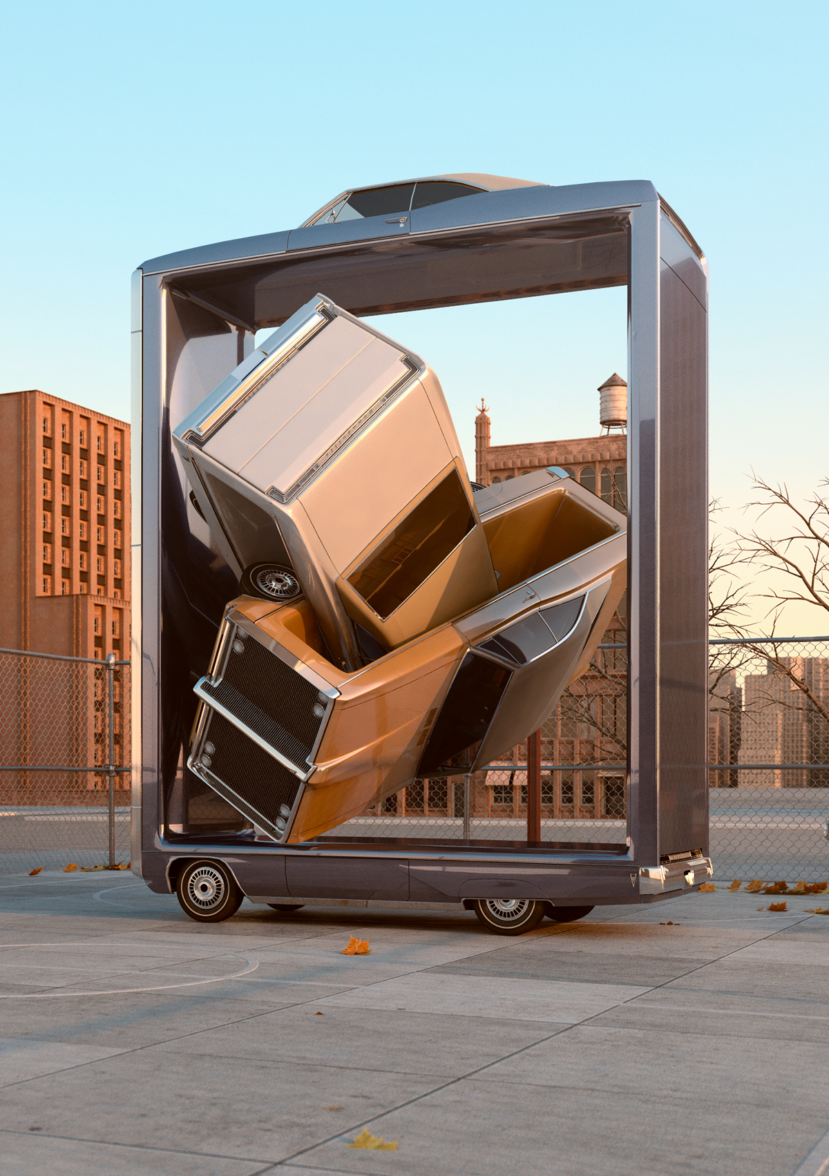 70's Retro Cars New York winter surreal automotive sculpture Aerobics 3D CGI
