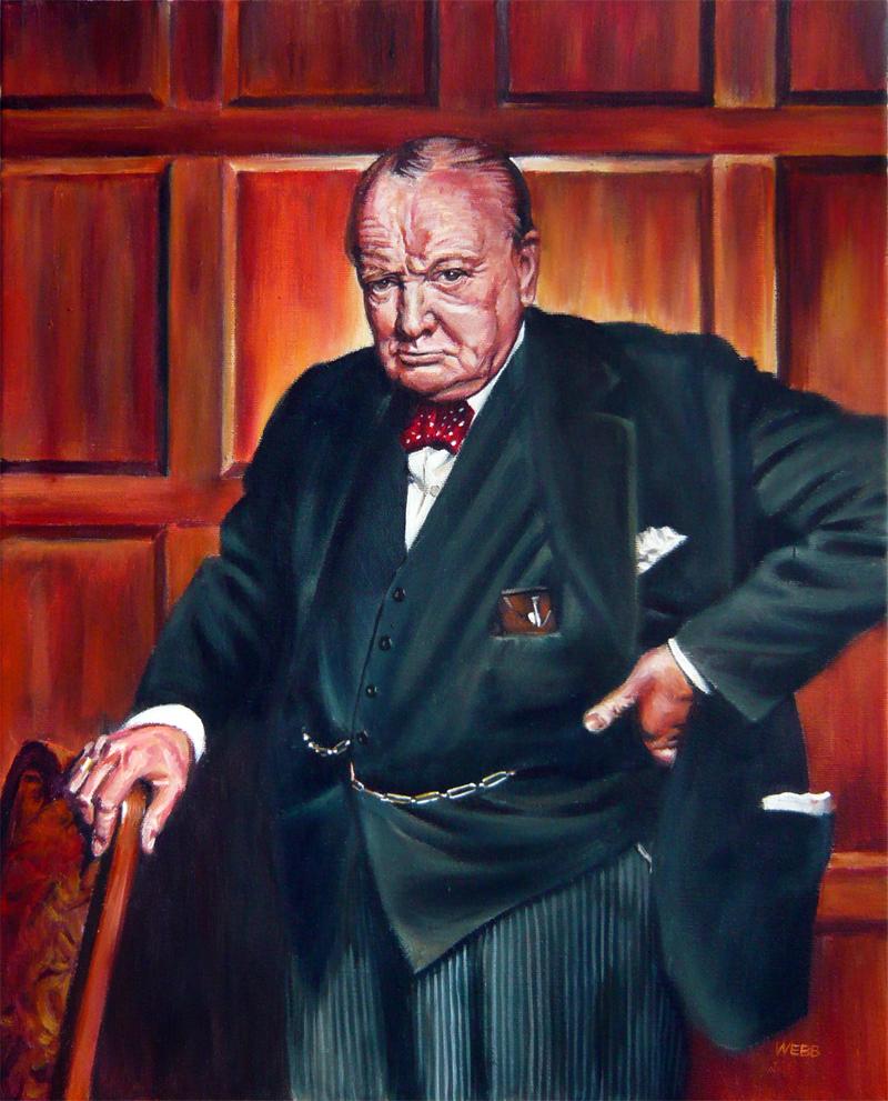 Acrylic on canvas portrait of Winston Churchill