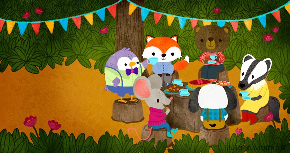 animals tea party forest cute ILLUSTRATION  Picture book board book children illustration children book scene