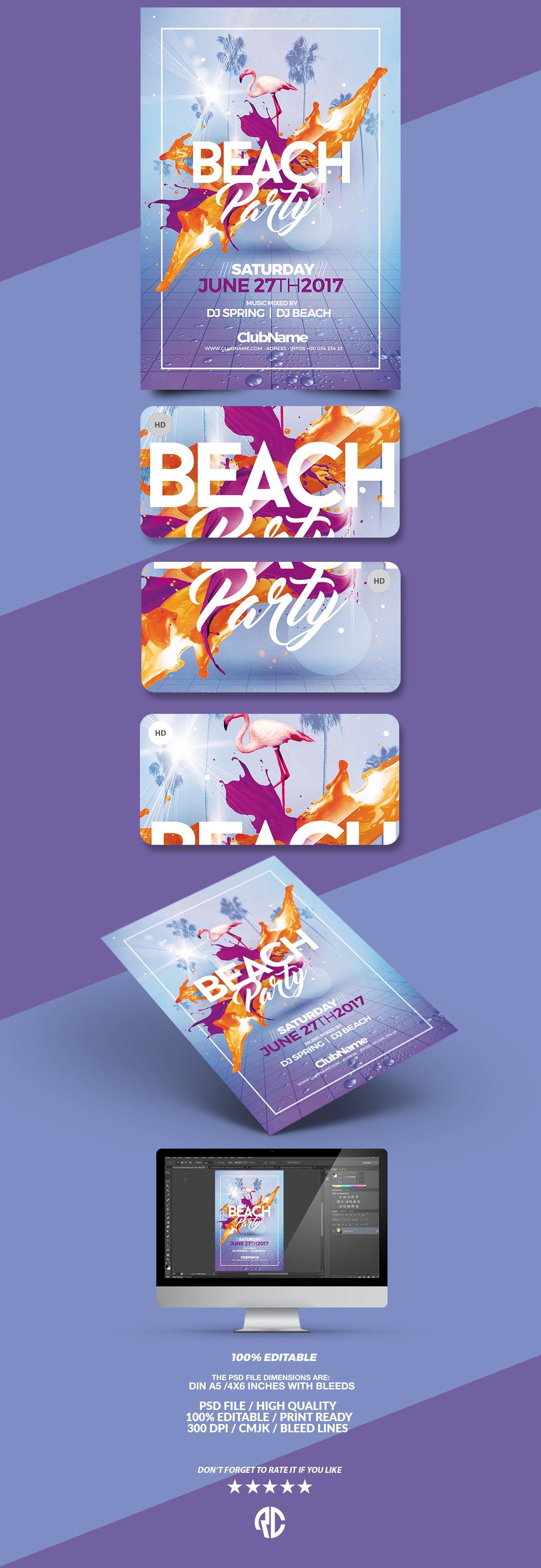beach party psd flyer template on behance