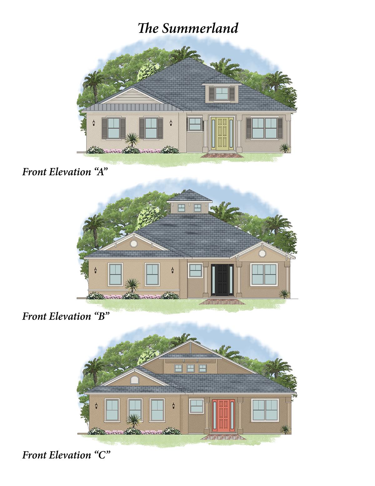 brochure sample with color floor plan florida home style standard design w 2d elevation for builder client cad work drawn in softplan v - 2d House Elevation Designs In