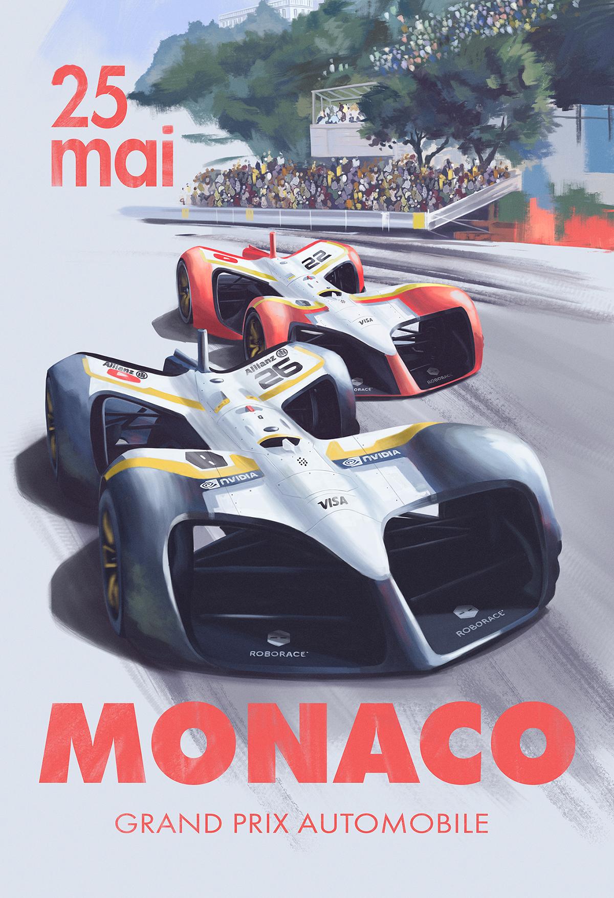 poster posters race roborace vintage RetroPoster Monaco Retro 2dart sport