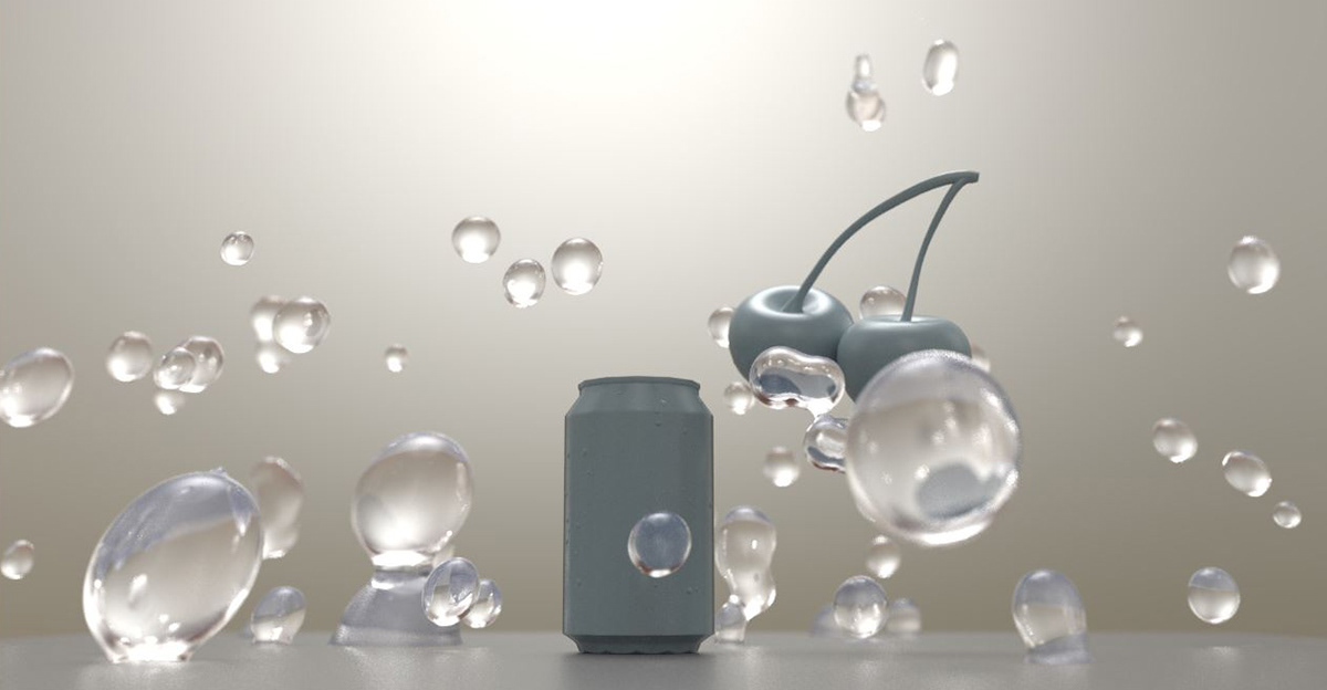 bai deep blue 3D ars thanea commercial Packshot product shot simulation houdini