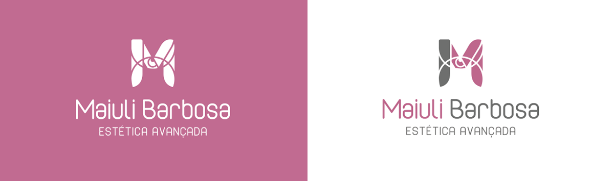 marca estética maiuli rosa cinza papelaria brand identidade visual Criciúma