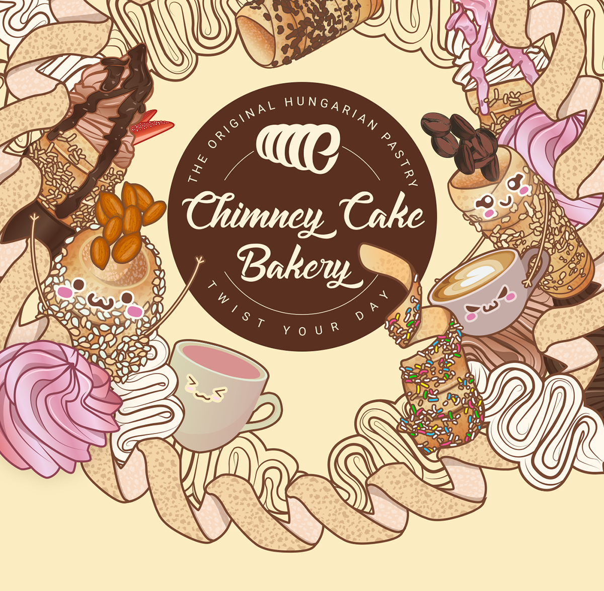 Illustration For Chimney Cake Bakery On Pantone Canvas Gallery