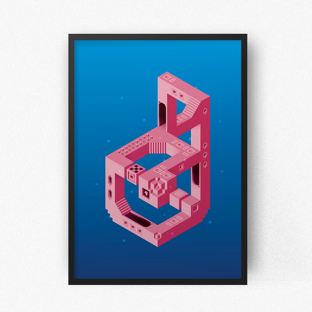 ILLUSTRATION  Isometric illusion monument valley visual identity hexagon vector Space  sea SKY