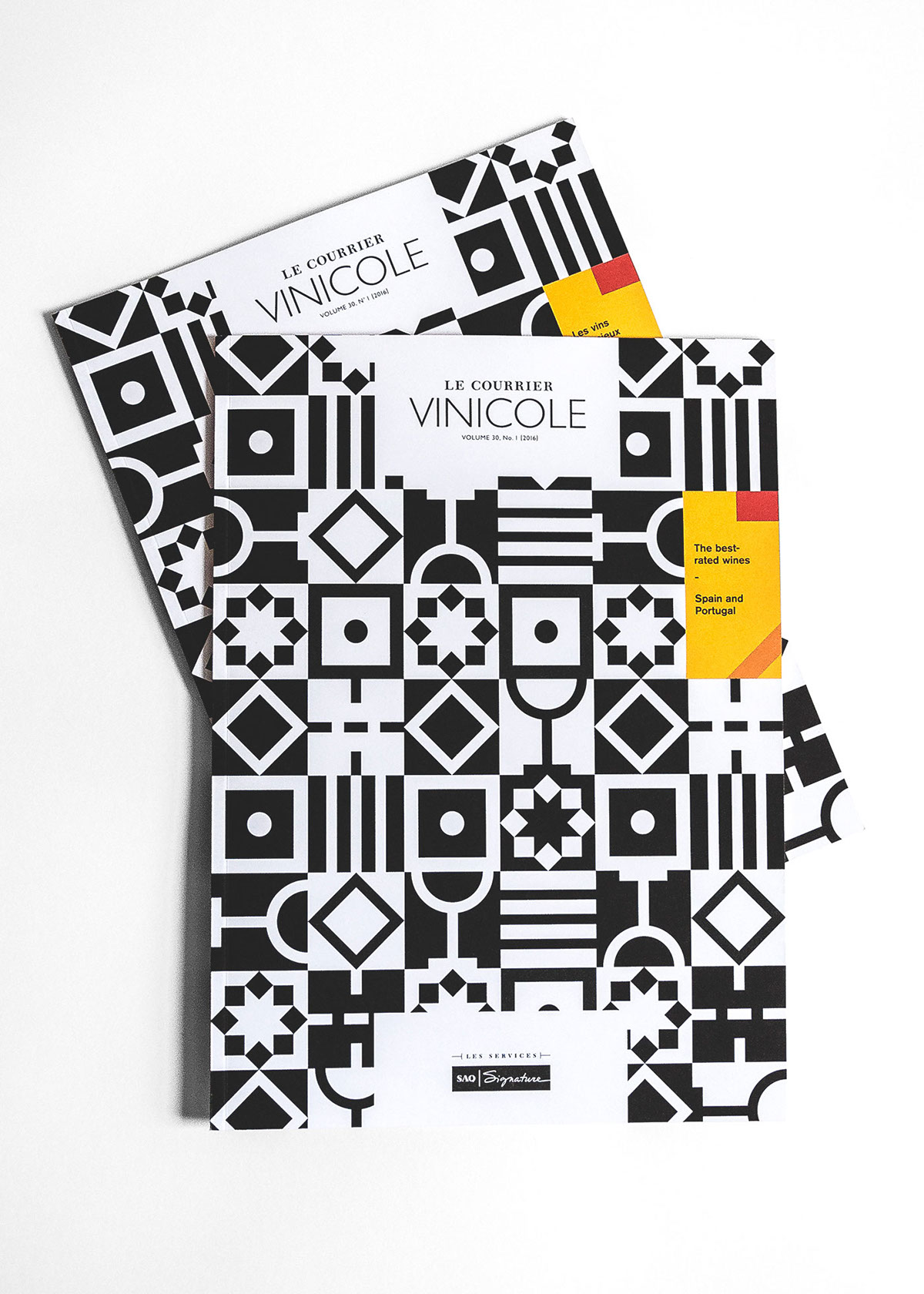 SAQ wine vin magazine print colors black and white mosaic mosaique espagne spain Portugal Sid Lee courrier Vinicole