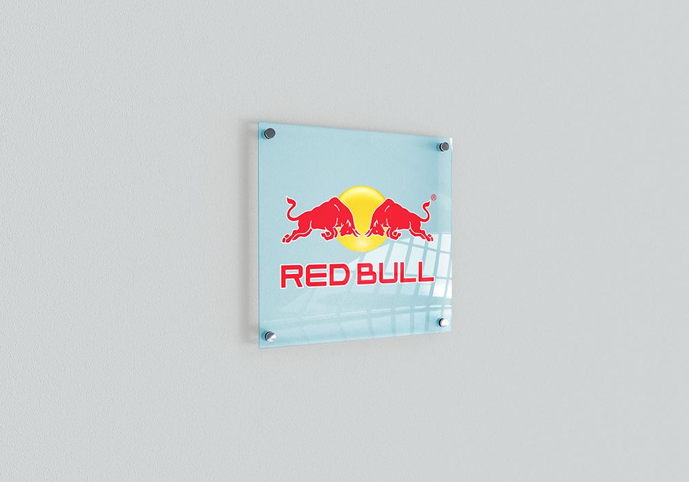 psd Mockup indoor Signage photoshop trdesign realistic glass logo