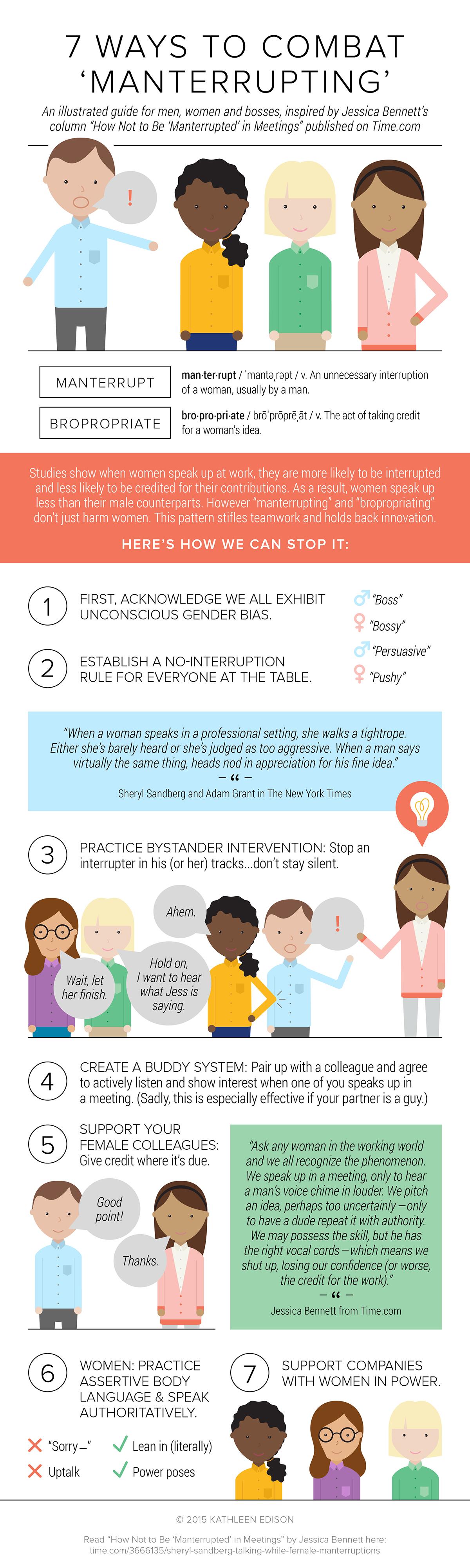 infographic Manterruption Bropropriation Guide Women at work gender bias sociology speak up men women workplace Jessica Bennett Sheryl Sandberg Time Magazine Lean In