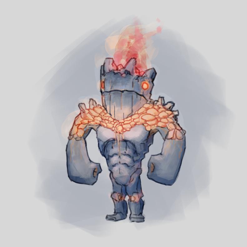 Adobe Portfolio golem Magic   fantasy ILLUSTRATION  conceptart gameart fire lavamonster