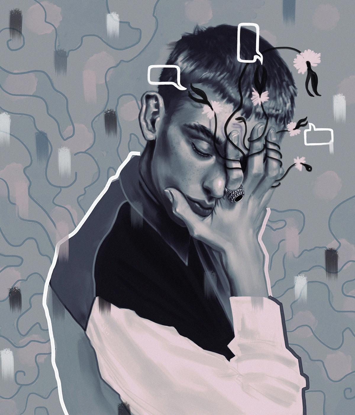 study portrait digital people Fashion  colorful woman doodle freestyle sketch