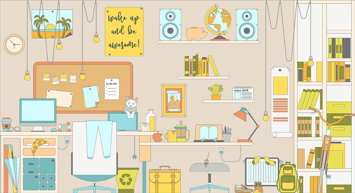 room Habitacion designer diseñador desk escritorio revolutumproject infographic infografia