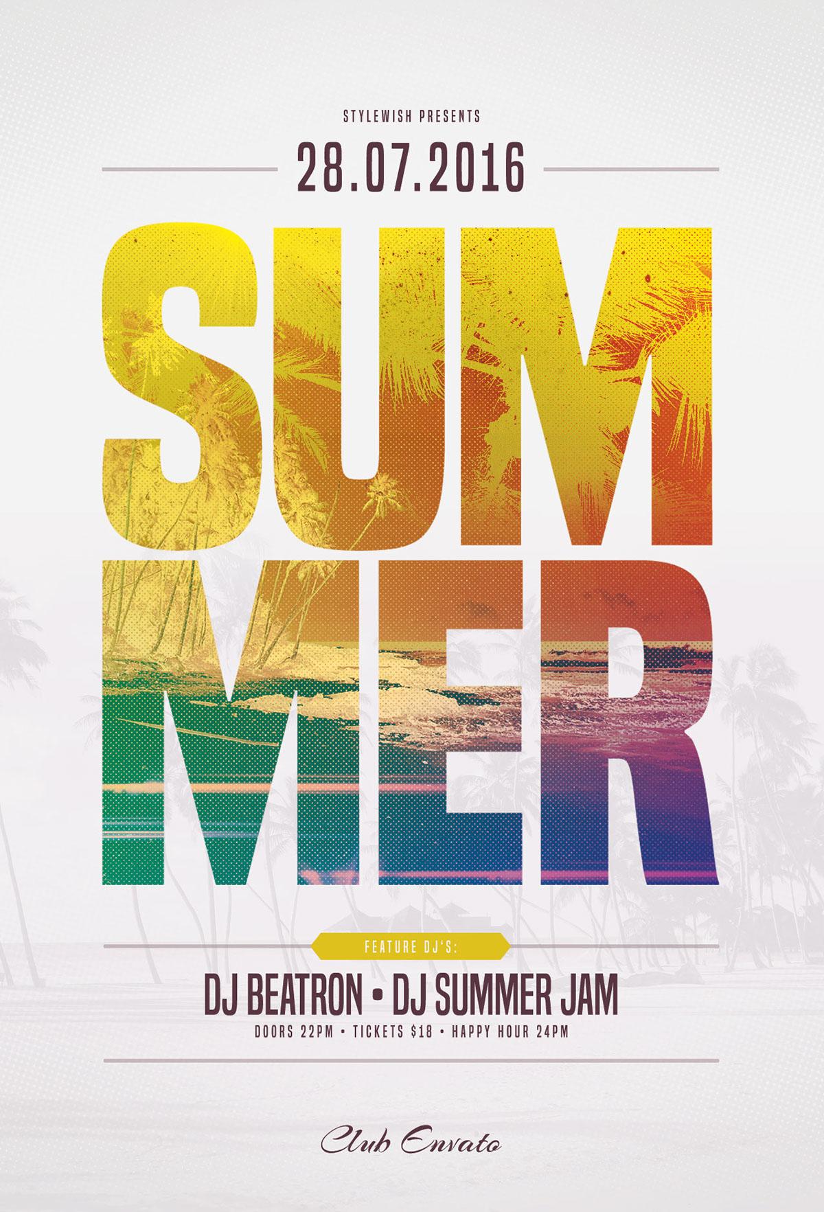 summer flyer template on behance
