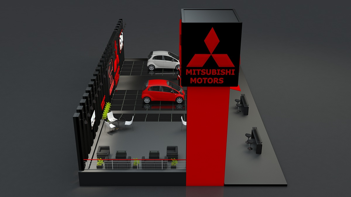 Exhibition Stand made in 3D MAX and VRAY for MITSUBISHI on Behance