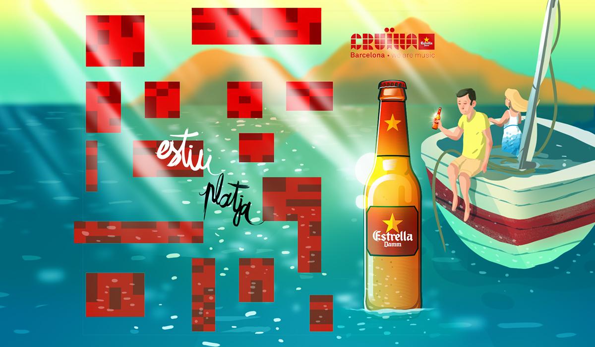 beach summer Mapping beer Estrella Damm